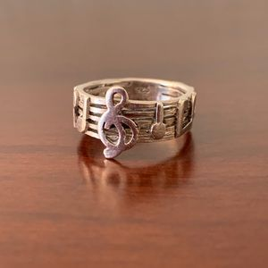 Vintage Sterling Silver Music Note Ring by Marsala